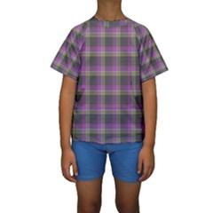 Tartan Fabric Colour Purple Kids  Short Sleeve Swimwear