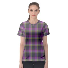 Tartan Fabric Colour Purple Women s Sport Mesh Tee
