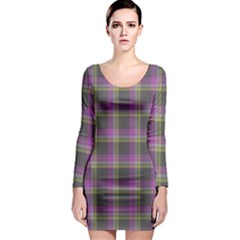 Tartan Fabric Colour Purple Long Sleeve Bodycon Dress