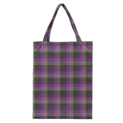 Tartan Fabric Colour Purple Classic Tote Bag