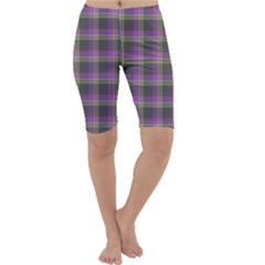 Tartan Fabric Colour Purple Cropped Leggings