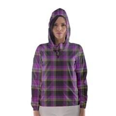 Tartan Fabric Colour Purple Hooded Wind Breaker (Women)
