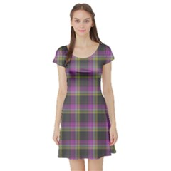 Tartan Fabric Colour Purple Short Sleeve Skater Dress