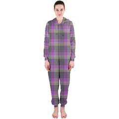 Tartan Fabric Colour Purple Hooded Jumpsuit (Ladies)