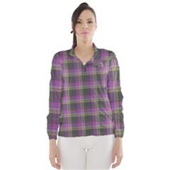 Tartan Fabric Colour Purple Wind Breaker (Women)