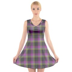 Tartan Fabric Colour Purple V-Neck Sleeveless Skater Dress
