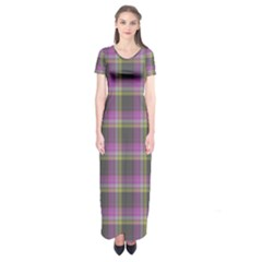 Tartan Fabric Colour Purple Short Sleeve Maxi Dress