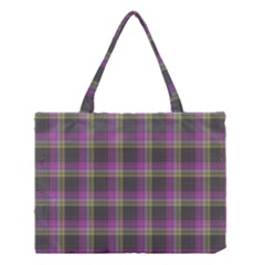Tartan Fabric Colour Purple Medium Tote Bag