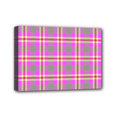 Tartan Fabric Colour Pink Mini Canvas 7  x 5
