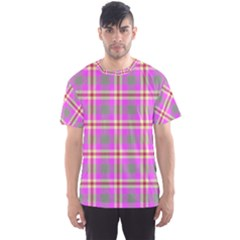 Tartan Fabric Colour Pink Men s Sport Mesh Tee