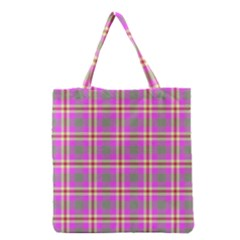 Tartan Fabric Colour Pink Grocery Tote Bag