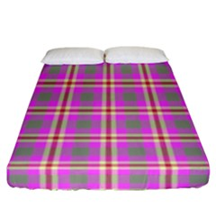 Tartan Fabric Colour Pink Fitted Sheet (california King Size)