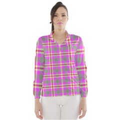 Tartan Fabric Colour Pink Wind Breaker (Women)