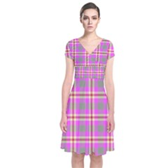 Tartan Fabric Colour Pink Short Sleeve Front Wrap Dress