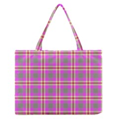 Tartan Fabric Colour Pink Medium Zipper Tote Bag