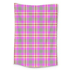 Tartan Fabric Colour Pink Large Tapestry