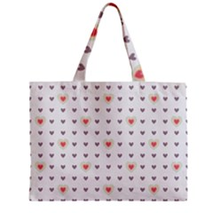 Heart Love Valentine Purple Pink Zipper Mini Tote Bag
