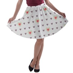 Heart Love Valentine Purple Pink A-line Skater Skirt