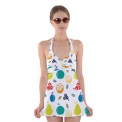 Fruit Lime Halter Swimsuit Dress
