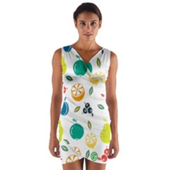 Fruit Lime Wrap Front Bodycon Dress
