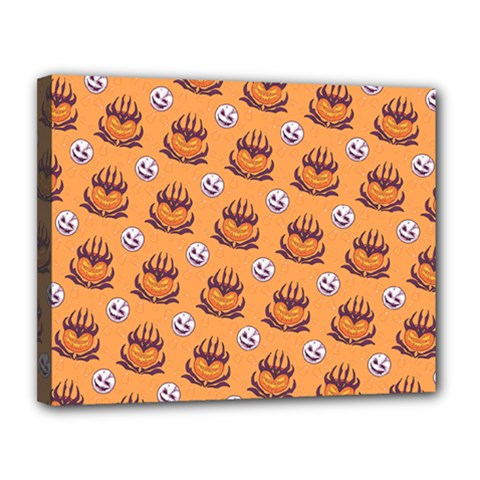 Helloween Moon Mad King Thorn Pattern Canvas 14  x 11