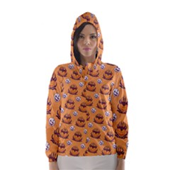 Helloween Moon Mad King Thorn Pattern Hooded Wind Breaker (Women)
