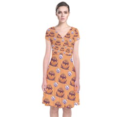 Helloween Moon Mad King Thorn Pattern Short Sleeve Front Wrap Dress