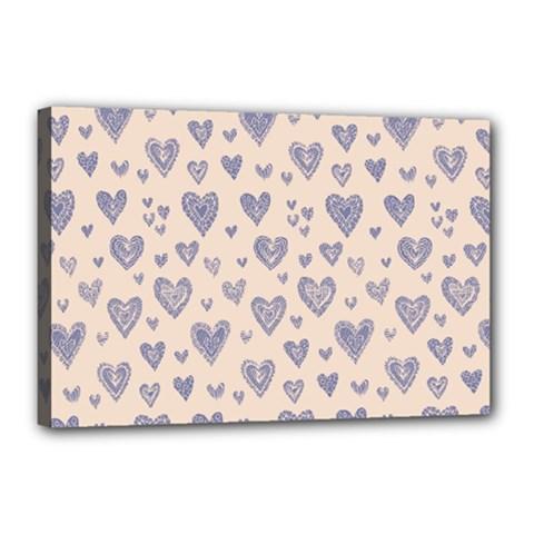 Heart Love Valentine Pink Blue Canvas 18  X 12