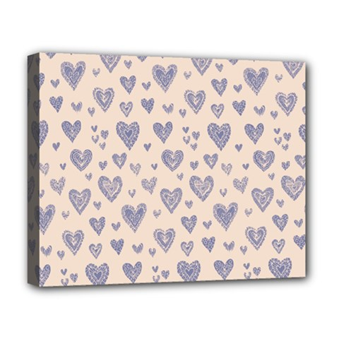 Heart Love Valentine Pink Blue Deluxe Canvas 20  x 16