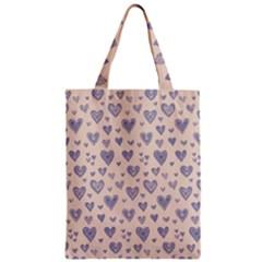 Heart Love Valentine Pink Blue Zipper Classic Tote Bag