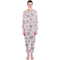 Heart Love Valentine Pink Blue Hooded Jumpsuit (Ladies)