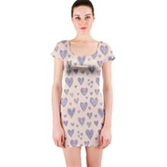 Heart Love Valentine Pink Blue Short Sleeve Bodycon Dress