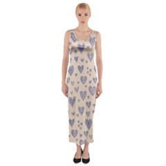Heart Love Valentine Pink Blue Fitted Maxi Dress