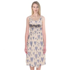 Heart Love Valentine Pink Blue Midi Sleeveless Dress