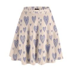 Heart Love Valentine Pink Blue High Waist Skirt