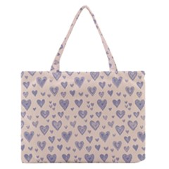 Heart Love Valentine Pink Blue Medium Zipper Tote Bag