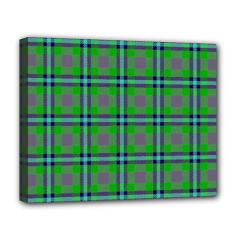 Tartan Fabric Colour Green Deluxe Canvas 20  x 16