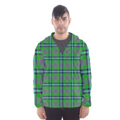 Tartan Fabric Colour Green Hooded Wind Breaker (Men)
