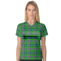 Tartan Fabric Colour Green Women s V-Neck Sport Mesh Tee