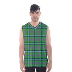 Tartan Fabric Colour Green Men s Basketball Tank Top