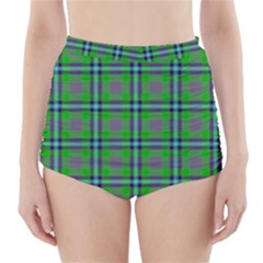 Tartan Fabric Colour Green High-Waisted Bikini Bottoms