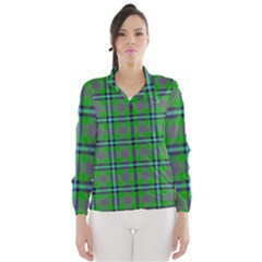 Tartan Fabric Colour Green Wind Breaker (Women)