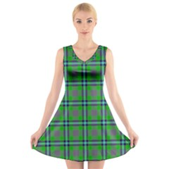 Tartan Fabric Colour Green V-Neck Sleeveless Skater Dress