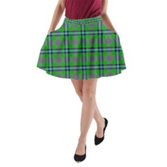 Tartan Fabric Colour Green A-Line Pocket Skirt