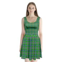 Tartan Fabric Colour Green Split Back Mini Dress