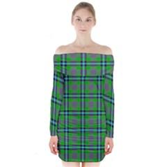 Tartan Fabric Colour Green Long Sleeve Off Shoulder Dress