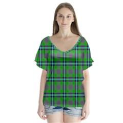 Tartan Fabric Colour Green Flutter Sleeve Top