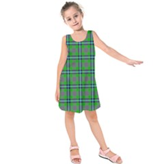 Tartan Fabric Colour Green Kids  Sleeveless Dress