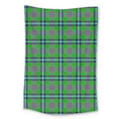 Tartan Fabric Colour Green Large Tapestry