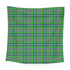 Tartan Fabric Colour Green Square Tapestry (large)